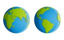 Fyra kontinenter stock illustrationer