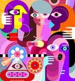 Fyra kvinnor på restaurangvektorillustrationen stock illustrationer