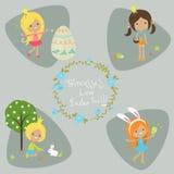 Fyra lilla prinsessor tecknad filmcommandertryckspruta hans illustrationsoldatstopwatch Begreppet av startpåsken Arkivbild