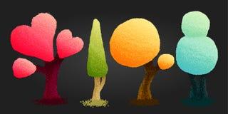 Fyra ljusa träd i tecknad filmstil Text och teckning av flickan stock illustrationer