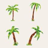 Fyra lowpoly palmträd Illustration för design på gul bakgrund Royaltyfria Foton