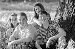 Fyra lyckliga tonåringar i naturen Arkivbild