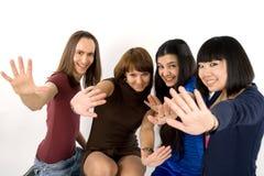 fyra lyckliga vänner Royaltyfri Foto