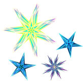 Fyra mångfärgade stjärnor royaltyfri illustrationer
