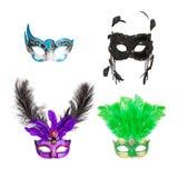 Fyra Mardi Gras Masks royaltyfri fotografi
