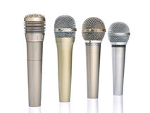 fyra mikrofoner Fotografering för Bildbyråer