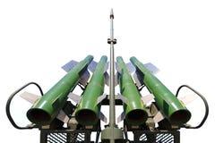 Fyra missiler av det självgående systemet Buk M2 som isoleras på en vit bakgrund royaltyfri bild