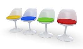 Fyra moderna stolar Arkivbild
