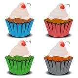 Fyra muffin Arkivbild
