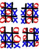 Fyra oavslutade Tick Tack Toe Games Arkivbild
