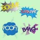Fyra olika färgrika komiker för solida effekter, bang, krasch, bög stock illustrationer