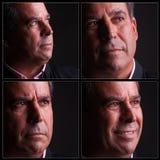 Fyra olika uttryck av den åldriga mannen för mitt Royaltyfri Foto