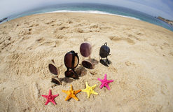 Fyra parar av solglasögon på stranden Fotografering för Bildbyråer