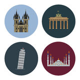 Fyra plana gränsmärkesymboler Arkivbild