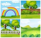 Fyra platser av gräsplan parkerar stock illustrationer