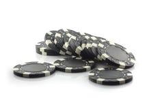 Fyra pokerchiper som isoleras på vit bakgrund Royaltyfri Fotografi