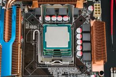 Fyra processorer i modigt moderkort Royaltyfri Fotografi
