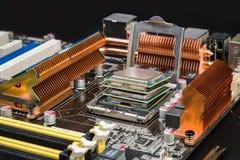 Fyra processorer i modigt moderkort Royaltyfria Foton