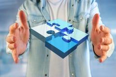 Fyra pusselstycken som gör en logo på en futuristisk manöverenhet - 3d Royaltyfria Foton