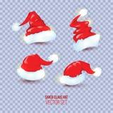 Fyra röda hattar för jultomten` s på genomskinlig rutig bakgrund Vecto Arkivbilder