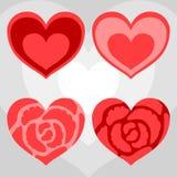 Fyra röda hjärtor Arkivbilder