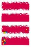Fyra röda jultitelrader royaltyfri fotografi