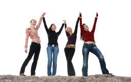 fyra roliga flickor som har arkivbilder