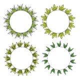 Fyra runda ramar med grönt gräs och sidor stock illustrationer