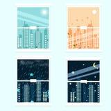 Fyra säsonger i cityscape, inter-stads- plan design för säsongändring vektor illustrationer