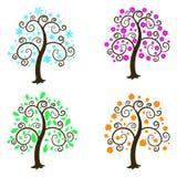 Fyra säsonger. Illustration en vit bakgrund. Fotografering för Bildbyråer