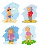 Fyra säsonger med barn Arkivbilder