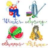 Fyra säsonger ställde in med begreppsmässiga symboler av vintern, våren, sommar och nedgången royaltyfri illustrationer