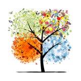 Fyra säsonger - vår, sommar, höst, vinter. Konst stock illustrationer
