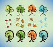 Fyra säsongklotterträd Arkivbilder