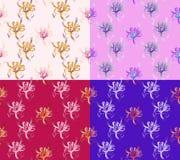 Fyra sömlösa abstrakta blom- modeller Uppsättning av bakgrunder av olika färger exklusiva garneringar Arkivbild