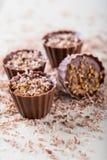 Fyra söta muffin som göras från muttrar och choklad Fotografering för Bildbyråer