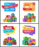 Fyra Sale för pris för rabatt för specialt erbjudande bästa kort royaltyfri illustrationer