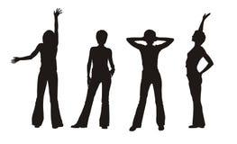 fyra silhouettes för flicka s Royaltyfri Bild