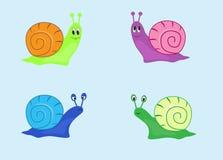 Fyra snails Arkivfoto