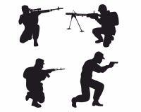 Fyra soldatkonturer vektor illustrationer