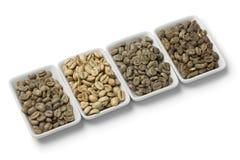 Fyra sorter av gröna unroasted kaffebönor Arkivbilder