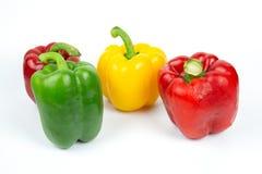 Fyra spanska peppar på vit bakgrund fotografering för bildbyråer