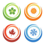 Fyra säsongelement Arkivbild