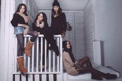 Fyra stilfulla modeller som poserar sammanträde på staketet Royaltyfri Bild