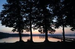 Fyra stora träd och sen solnedgång vid sjön på det polska Masuria området (Mazury) Royaltyfri Bild