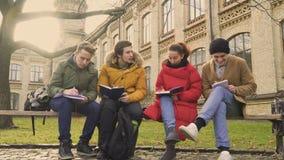 Fyra studenter som diskuterar bildande material på bänken parkerar in stock video