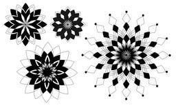 Fyra svarta geometriska modellblommor royaltyfri illustrationer