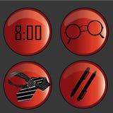 Fyra symboler av affär Arkivfoto