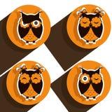 Fyra symboler med bruna ugglor Royaltyfria Bilder
