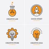 Fyra symboler med det mänskliga huvudet, raket och den ljusa kulan stock illustrationer